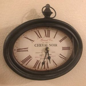 Cheval Noir Antique-Inspired Metal Wall Clock
